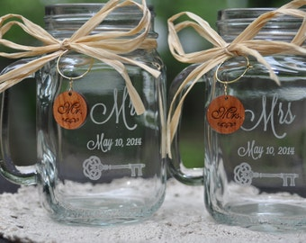 Personalized Mr and Mrs Toasting Mugs with Wood Charms