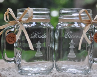 Bride and Groom Gift Engraved Set of Mason Jars, King and Queen Chess Pieces personalized with a date.