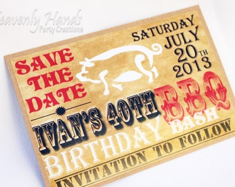 Country BBQ Save the Dates -Printed Invitations