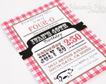 Country Plaid Invitation / BBQ Printed Invitation