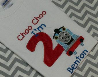 Thomas The Train T-Shirt with Birthday Number or a Letter.  Made to Order
