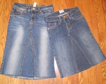 Kids Basic Knee length jean skirt, sizes 4 - 14, kids sizes, custom denim skirt, recycled jeans, made to order