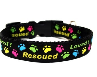 "Rescued Dog Collar 1"" Colorful Dog Collar"