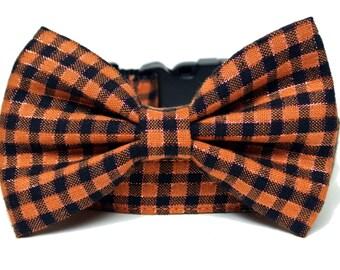"Halloween Plaid Dog Collar 3/4"" or 1"" Bow Tie Dog Collar"