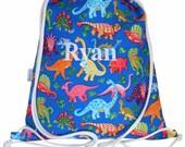 Dinosaur Personalised Backpack Swim Bag Drawstring Bag for Kids