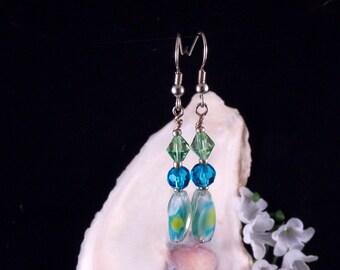 Green Earrings - Blue Earrings - Glass Beaded Earrings - Green Dangling Drop Earrings - Green Handmade Costume Jewelry - Free Shipping