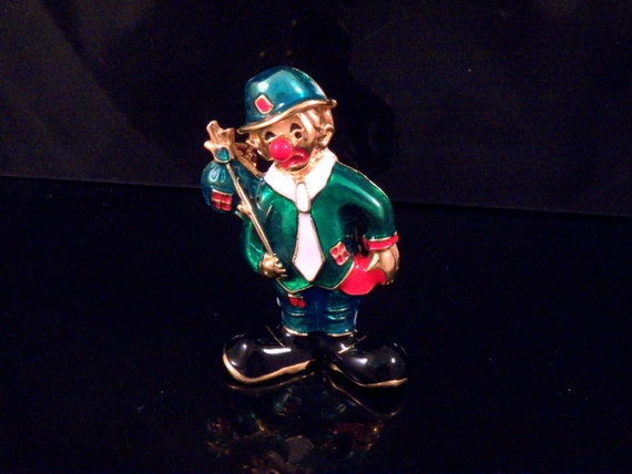 Hobo Clown Brooch - Vintage Brooch - Colorful 2 inches Clown Brooch - Vintage Costume Jewelry - Brooch Accessory - Free Shipping to USA