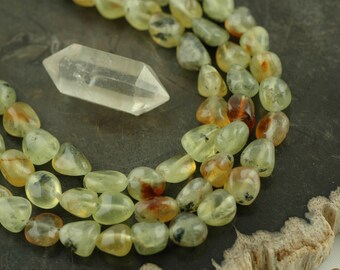 Burnt Prehnite: Orange-Green Free-Form Polished Nuggets / Approx. 9x15mm / Organic, Earthy / Designer, Jewelry Making Craft Supply/ Woodland