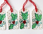 Hand Painted Christmas gift tags - Holly