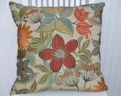 Orange Floral Pillow Cover--18x18 or 20x20 or 22x22- Decorative Pillow--Red, Green, Orange- Accent Pillow