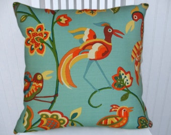 Aqua Decorative Pillow Cover---18x18 or 20x20 or 2x22 Throw Pillows-Birds--- Accent Pillow Orange, Yellow, Green