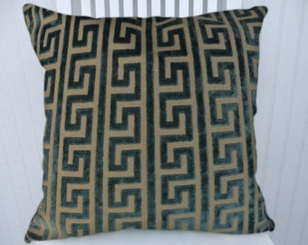 Blue Velvet Pillow Cover-- 18x18 or 20x20 or 22x22 Geometric Decorative Throw Pillow--Accent Pillows