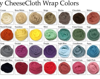 "Medium Cheesecloth wrap 34 color choices 36"" X 54"" (3ft X 4.5ft) by Posey Pillow"