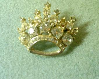 Rhinestone Crown Pin/Brooch - 1960's