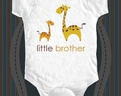 little brother giraffe design1 Birth pregnancy announcement Infant Baby One-piece, Infant Tee, Toddler, Youth T-Shirts