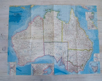 1963 vintage australia national geographic wall map
