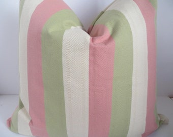 Green Pink Cream Pillow Covers, Green Pillow Cover,  Striped pillow Covers,Pillow covers, Stripes Pillow, Ozborne Vertical stripes