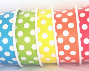 50 Large ICE CReaM cups-Polka Dot-Rainbow mix or choose colors- with free DiY labels via email  file-