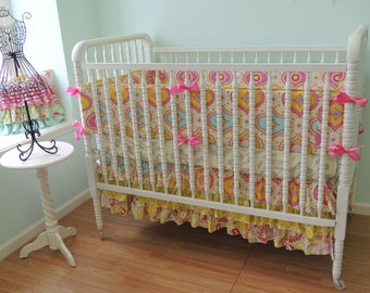 Custom Crib Bedding with a Moroccan Feel using Kumari Garden