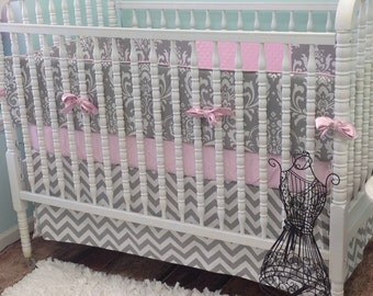 Boutique Cribset in Pink and Grey with Grey Chevron Stripes, Pink and Gray Crib Bedding, Grey Damask Bumper, Grey Crib Skirt