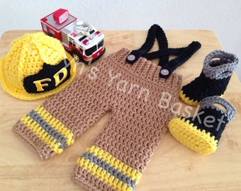 Baby Firefighter Hat Crochet Outfit, 4 pc Turn Out Gear w/Susp & Boots, Preemie, Newborn, 0-3, Photo Prop - MADE TO ORDER