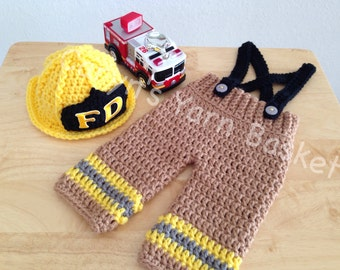 ORIGINAL DESIGN Baby Firefighter Crochet Hat Outfit, 2 pc Turn Out Gear w/Suspenders, Preemie, Newborn/0-3  Photography Prop - Made To Order