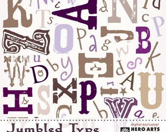 Hero Arts Jumbled Type DK006 Number Background  Instant Download