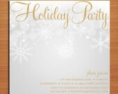 Silver and Gold Bokeh /  Christmas Party DIY Customized Printable Party Invitations