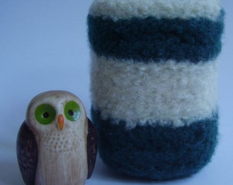felted wool container desktop organizer square cream and teal striped