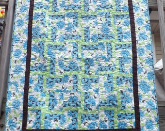 Blue and Brown Bird Quilt
