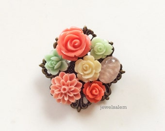 Coral Mint Green Brooch Bridesmaid Gift Floral Pin Flower Collage Wedding Mother's Day Sister BFF Friendship Best Friends Christmas WR PM