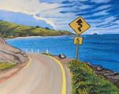 "10"" x10"" Molokai Drive/ Fine Art Giclee on Canvas Print/ Acrylic Painting"
