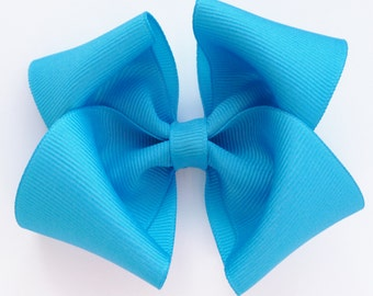 large turquoise hair bows--3.5 inch toddler big girl bows--easter spring accessories