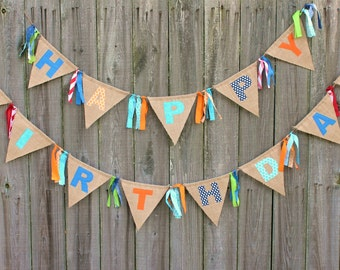 Happy Birthday Bunting, Burlap Birthday Banner, Custom Made to Match your Theme
