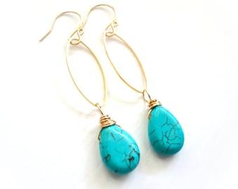 Gold Turquoise Earrings - Modern Oval Hoops with Stone Teardrop