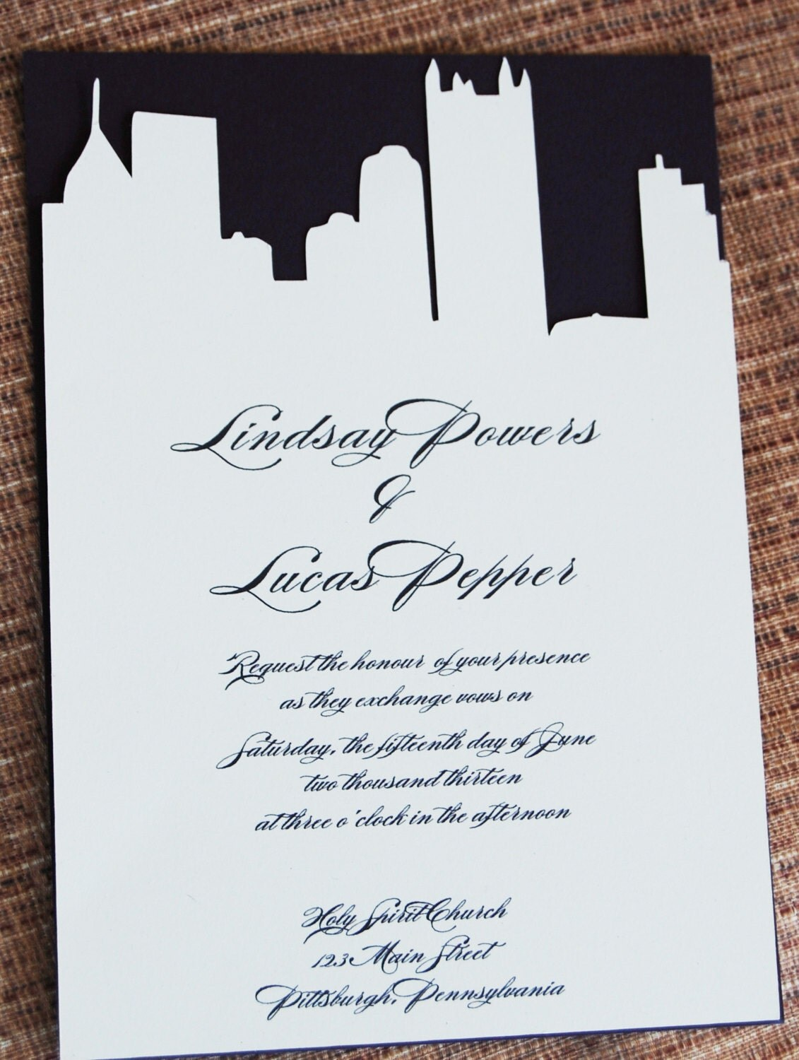 Pittsburgh Skyline Custom Cut Invitation With By PittsburghPixels
