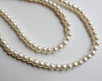 Cream glass pearl beads round 6mm full strand 7743GB