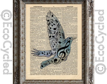 Song Bird with Musical Notes on Vintage Upcycled Dictionary Art Print Book Art Print Music Recycled Repurposed bookworm gift