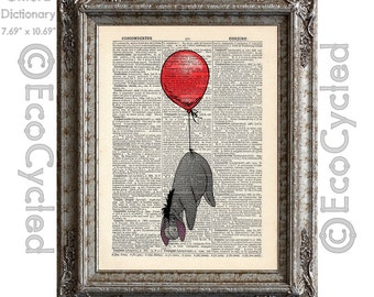 Eeyore and the Red Balloon plain on Vintage Upcycled Dictionary Art Print Book Art Print Adventure Winnie the Pooh Book Lover Gift Adventure