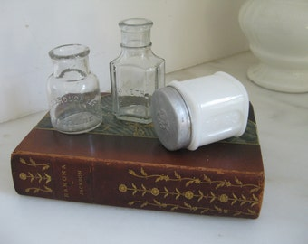 antique glass bottles and milk glass jar with lid ~  3 small bottles up for adoption