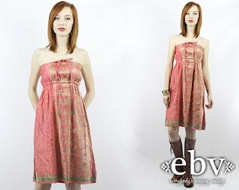 Indian Dress 70s Dress 1970s Dress Hippie Dress Hippy Dress Tube Dress Babydoll Dress Pink Dress Vintage 70s Pink Strapless Dress S M L