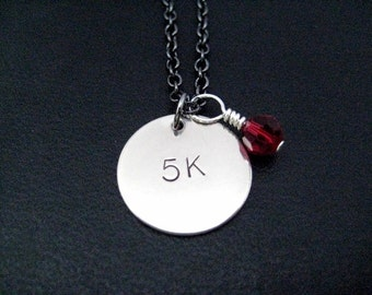 5K with RACE MONTH Crystal Necklace - 5k Running Charm with Sterling Silver Wrapped Swarovski Crystal on 18 in. gunmetal chain - First 5k