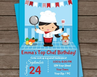 Chef Cooking Birthday Party Invitation - Cooking Party Invitation - Baking Party Invitation - Download & Personalize at home in Adobe Reader