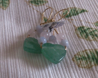 Adventurine Heart with gem Beads on Gold filled Wires