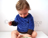 Jumper blue baby velour soft cute toddler brown cuffing sweater cosy lightweight garment cardigan top retro cool kid clothng comfortable fun