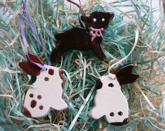 Easter Handmade Ceramic Ornaments - chocolate bunnies, lamb