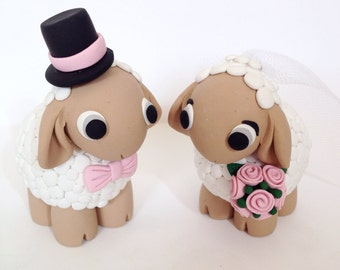 Sheep Wedding Cake Topper - Choose Your Colors