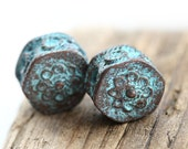 Geometric ornament beads, Rustic patina on copper, metal casting Greek beads, Lead Free, engraved - 2Pc - 1104