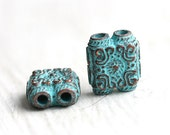 Large Two Hole beads, connectors, Patina on copper, Greek beads, square, Lead Free - 2Pc - F137