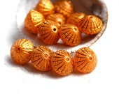 Puffy bicone beads, Orange Yellow Golden inlays, czech glass, gold wash - 10x8mm - 12Pc - 1469